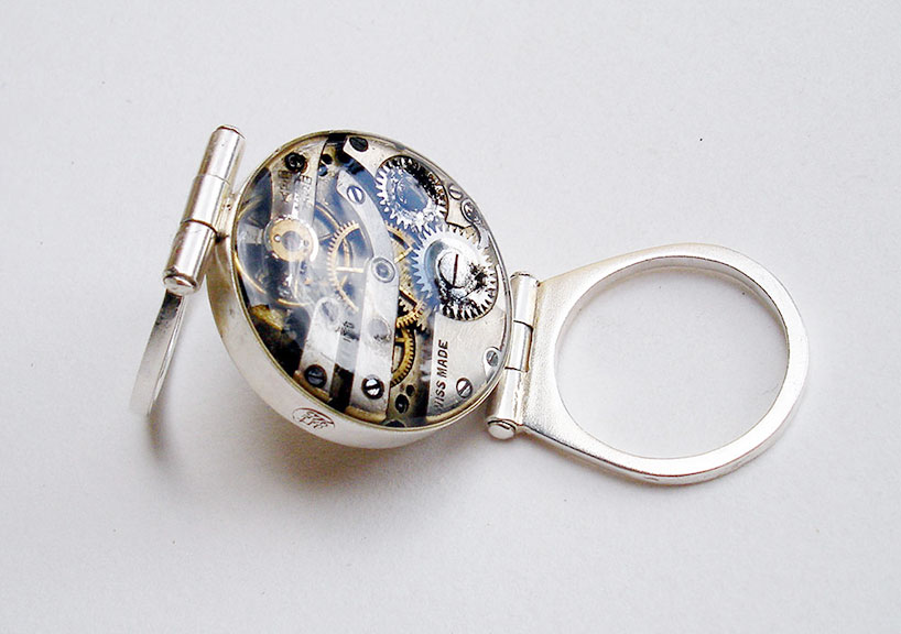 art925: double-faced hinged ring with vintage watch parts, sterling silver, resin