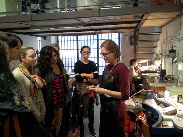 SACI Jewelry Design students visiting Martina @ Officine Nora
